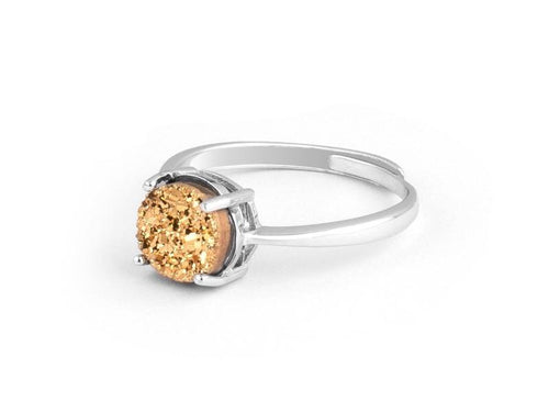 Grotto Gold Iridescent Drusy Sterling Silver Ring