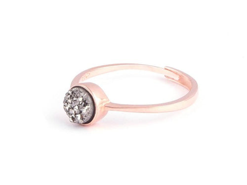 Grotto Grey Iridescent Drusy Rose Gold Ring