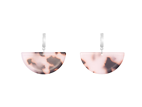 Tortoiseshell Brown Disc Resin Earrings