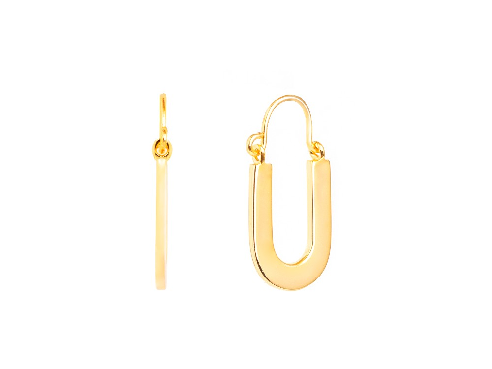 Halo Oval Hoop 14k Gold Earrings