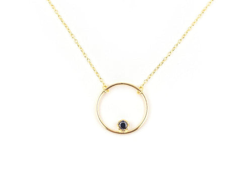September Birthstone Sapphire 14k Gold Necklace