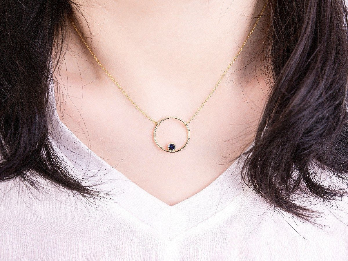Harmony Black Zirconia 14k Gold Pendant Necklace