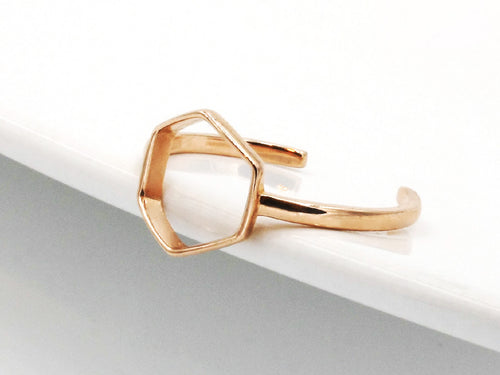 Hexagon Rose Gold Sterling Silver Ring in Columbus Ohio