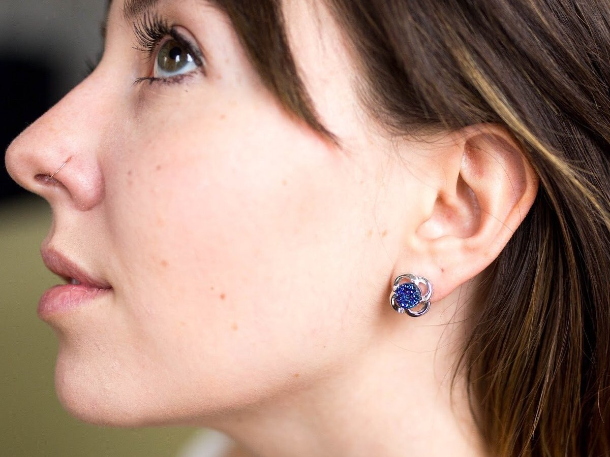 Vortex Blue Iridescent Drusy Silver Earring