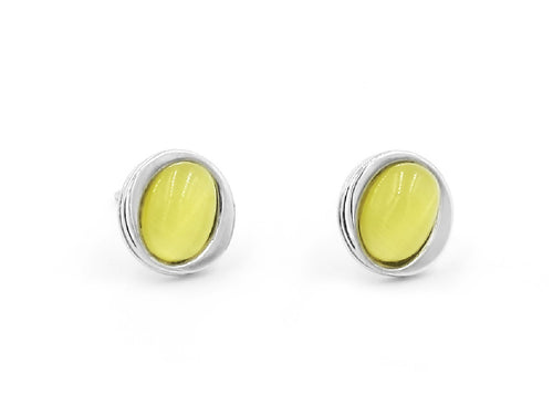 Cat's Eye Stone and Sterling Silver Stud Earrings