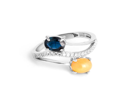 Opal & Sapphire Sterling Silver Ring in Columbus Ohio