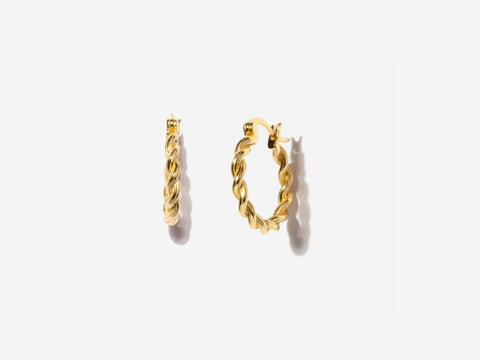 Crescent Moon Stud Earrings in 14K Gold