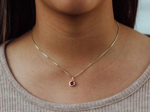 January Birthstone Garnet 14k Gold Necklace