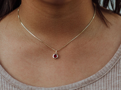 July Birthstone Ruby 14k Gold Necklace