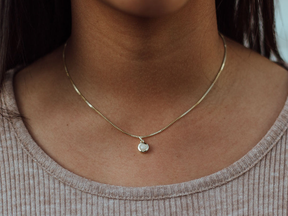 June Birthstone Moonstone 14k Gold Necklace