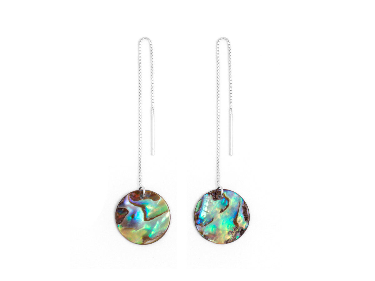Kaleidoscope Abalone Shell Threader Earrings