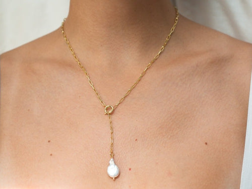 Kara Pearl Lariat Necklace in 14K Gold