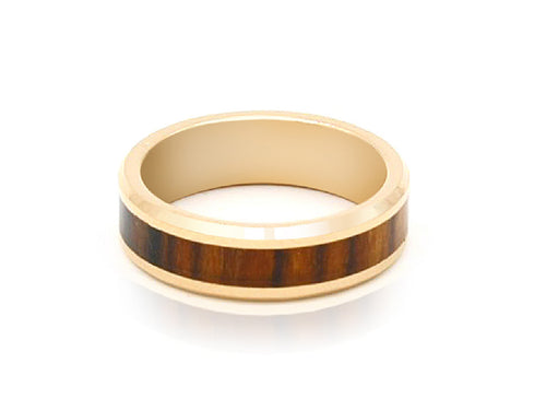Koa Wood Inlay Rose Gold Tungsten Carbide Ring