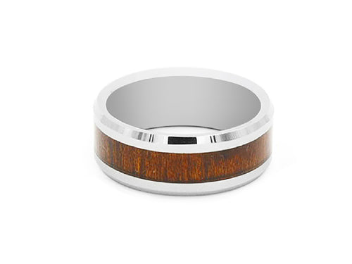 Koa Wood Inlay Tungsten Carbide Ring