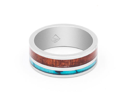 Koa Wood and Turquoise Inlay Tungsten Carbide Ring