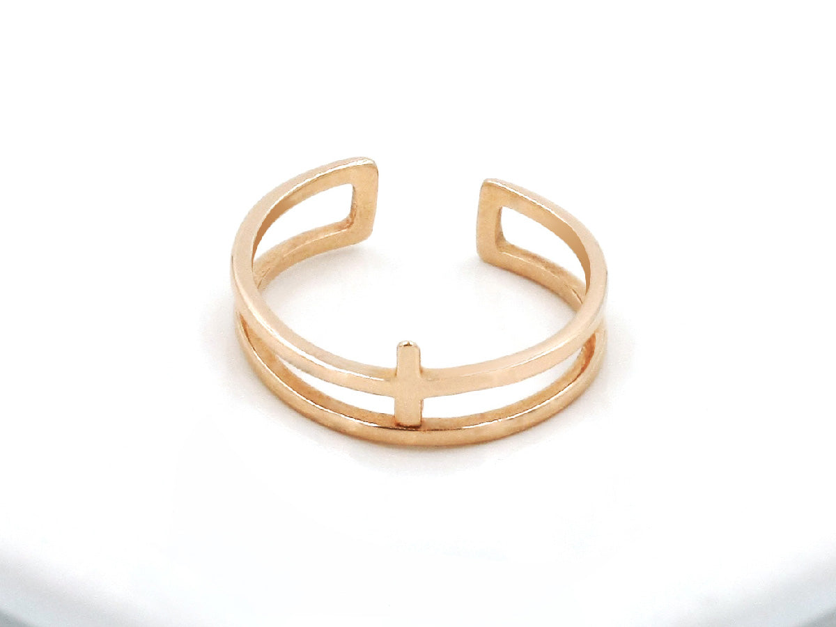 Double Bar Sterling Silver Rose Gold Ring
