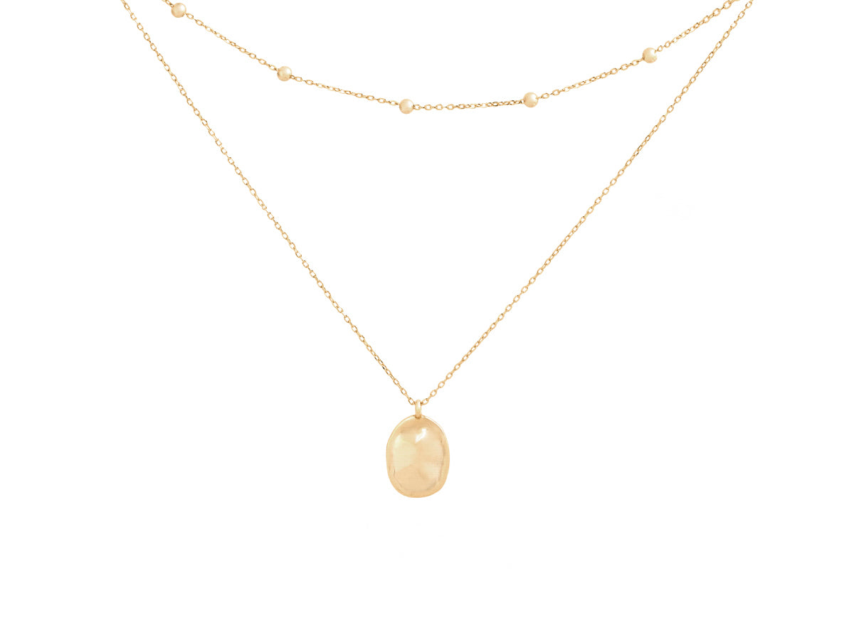 Layered Bean 14K Gold Pendant Necklace