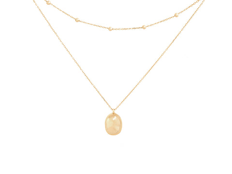 April Birthstone Clear Crystal 14k Gold Necklace