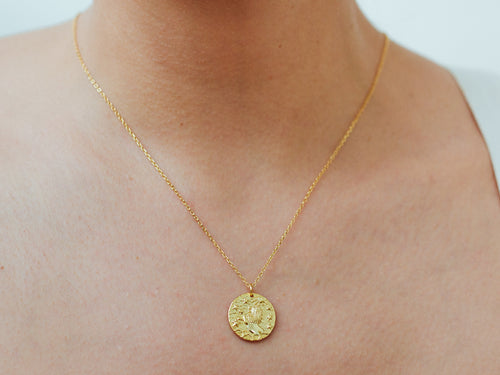 Leo Zodiac Coin 14k Gold Necklace