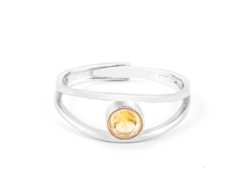 Asymmetric Baguette Citrine 14k Gold Ring