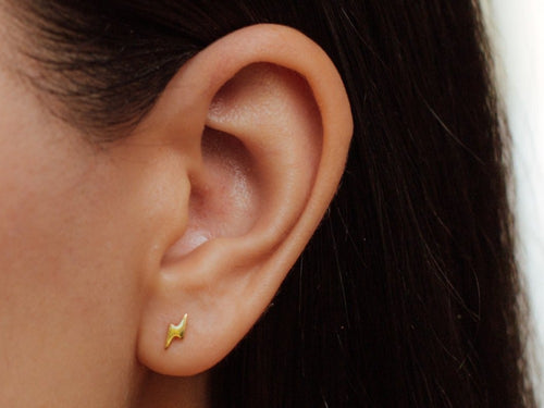 Lightning Bolt Stud Earrings in 14K Gold