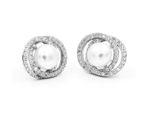 Freshwater Pearl Sterling Silver Stud Earrings in Columbus Ohio