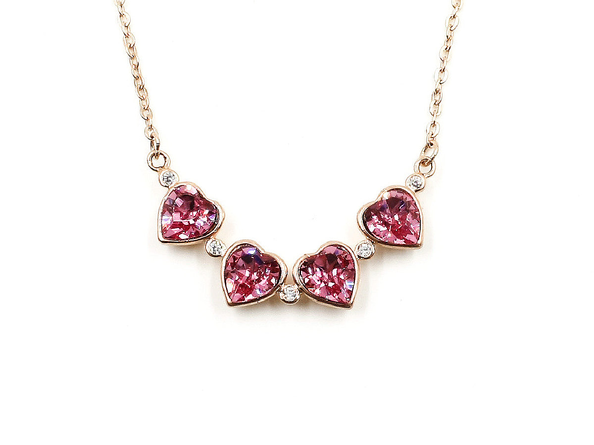 Magenta Rose Gold - Heart Link Necklace