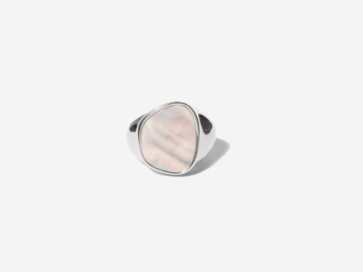 Mara Mother of Pearl Signet Silver Ring