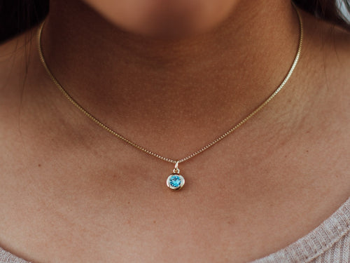 March Birthstone Aquamarine 14k Gold Necklace