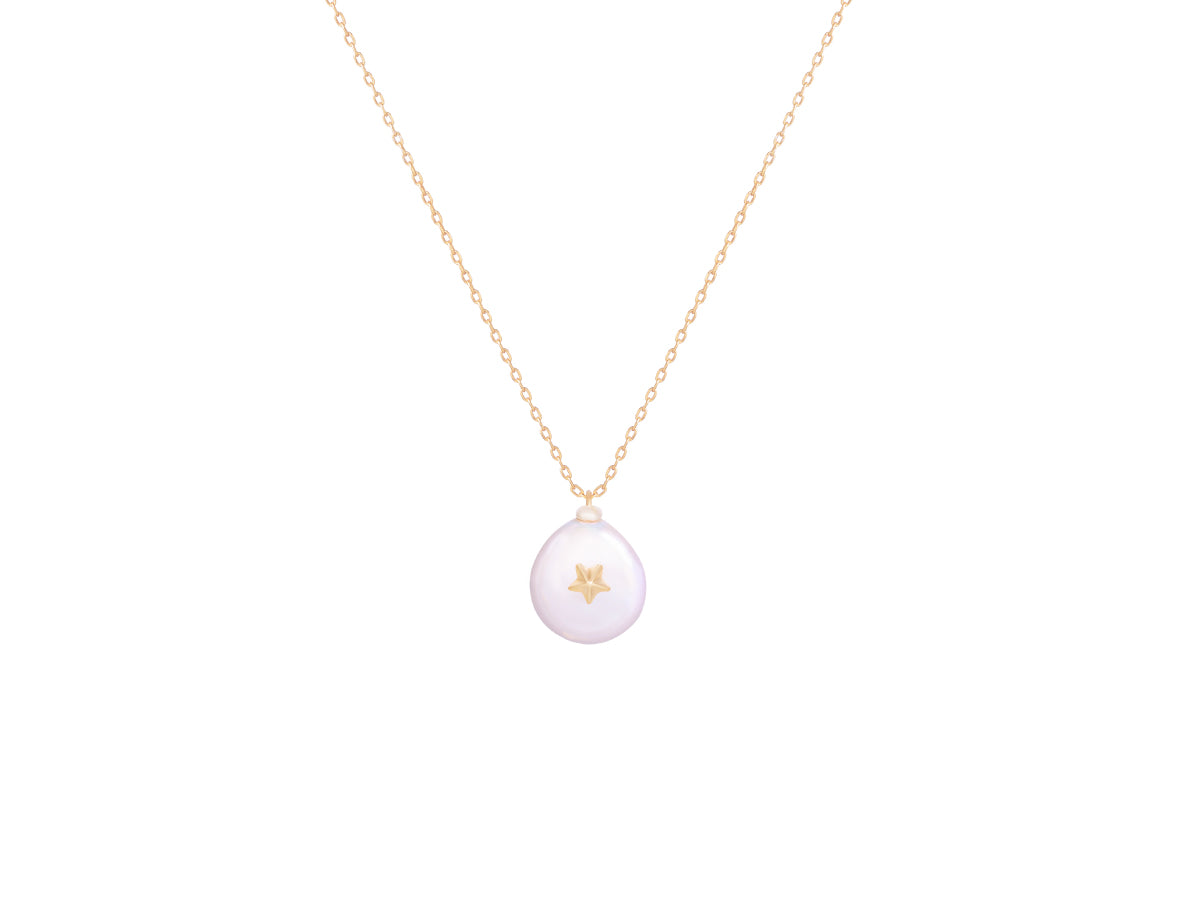 Mini Star Pearl 14K Gold Necklace