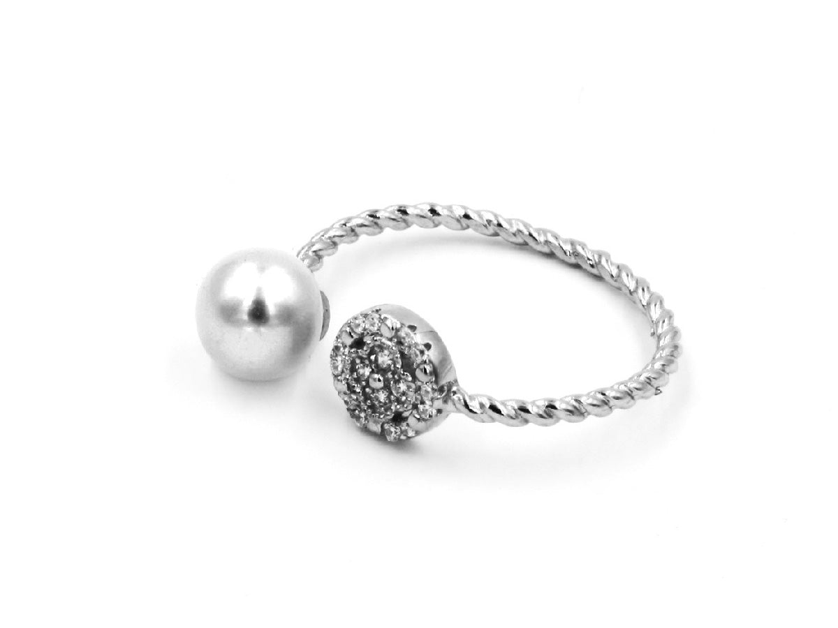 Moon & Star - Freshwater Pearl Sterling Silver Wrap Ring