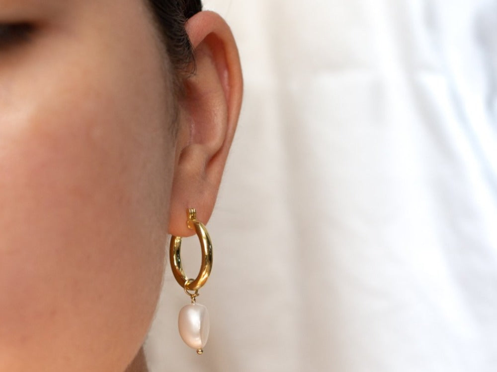 Mrya Pearl Hoop Earrings