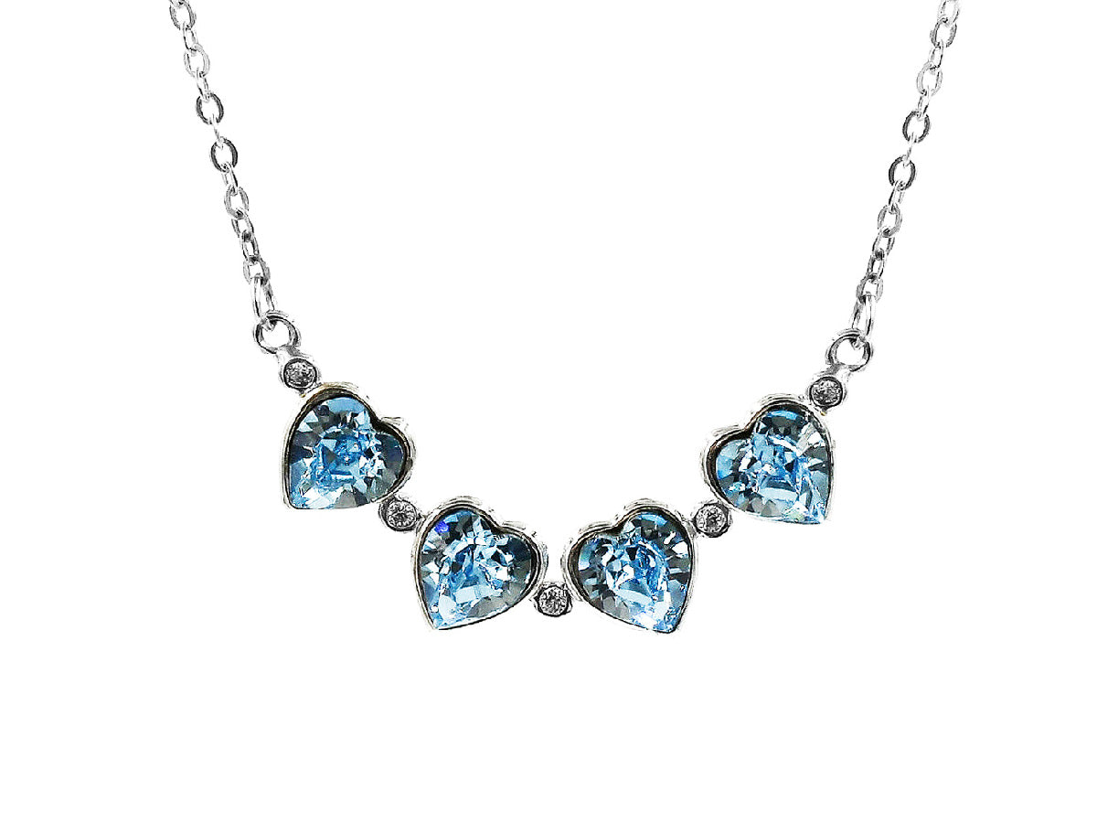 Ocean Blue - Sterling Silver Heart Link Necklace