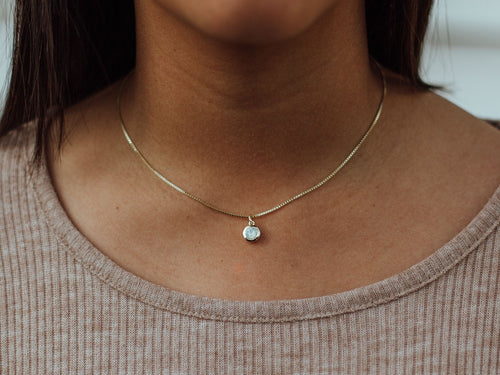 October Birthstone Opal 14k Gold Necklace