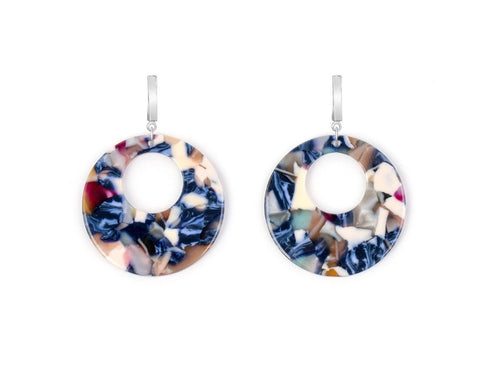 Optic Acrylic Drop Earrings - Blue and Cream