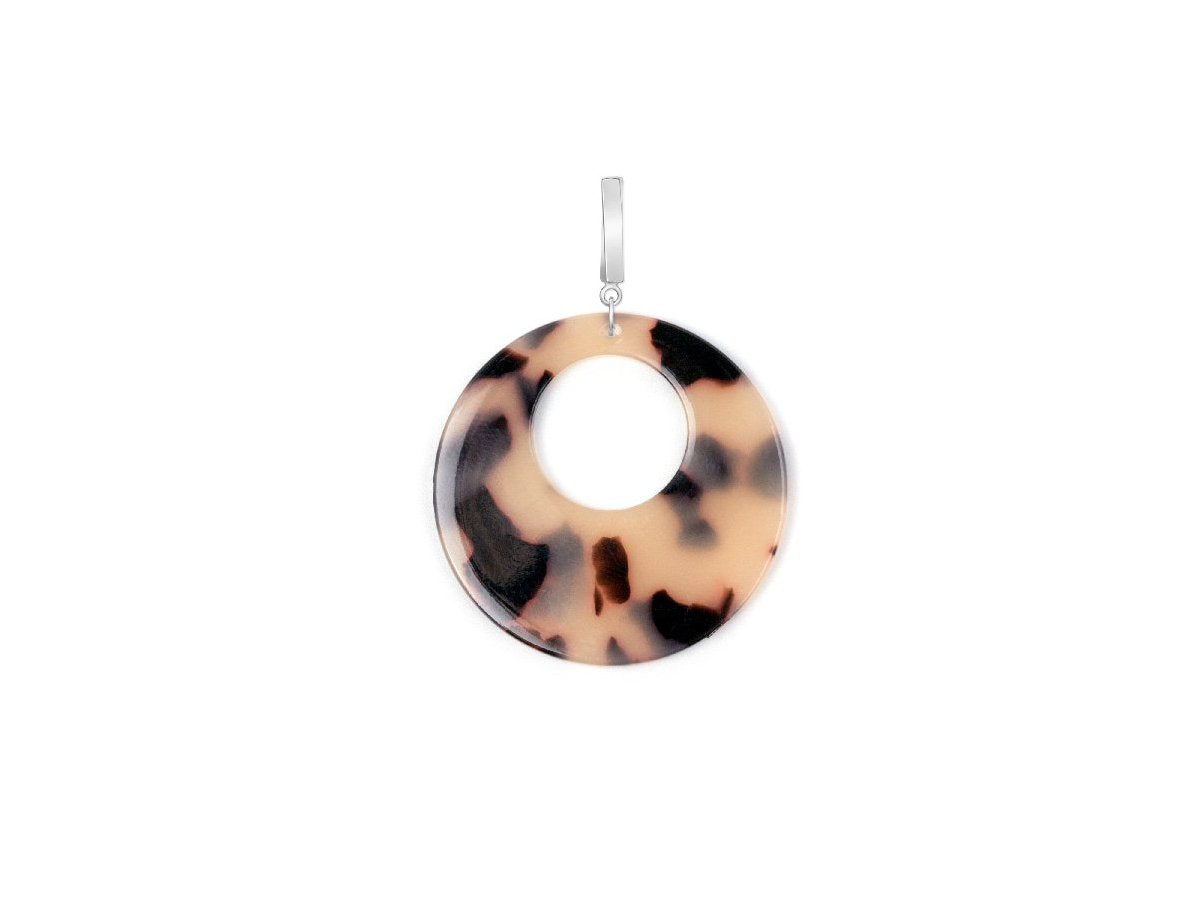 Optic Acrylic Drop Earrings - Taupe and Black
