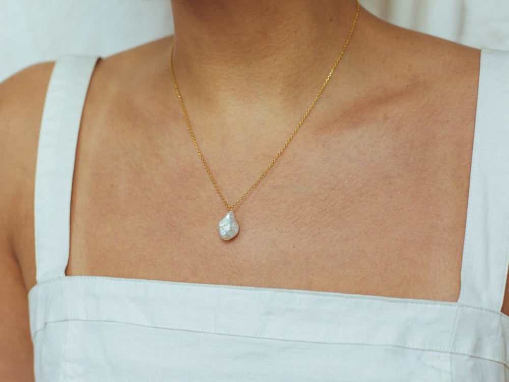 Organic Pearl 14K Gold Necklace