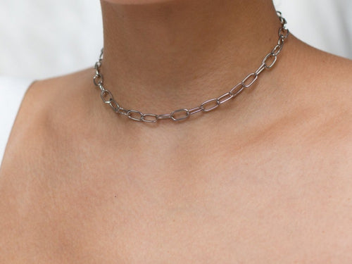 Oval Link Sterling Silver Choker Necklace