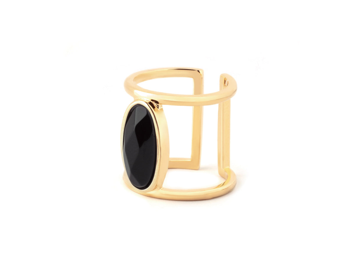 Oval Black Onyx 14K Gold Ring