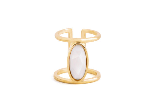 Asymmetric Baguette Garnet 14k Gold Ring
