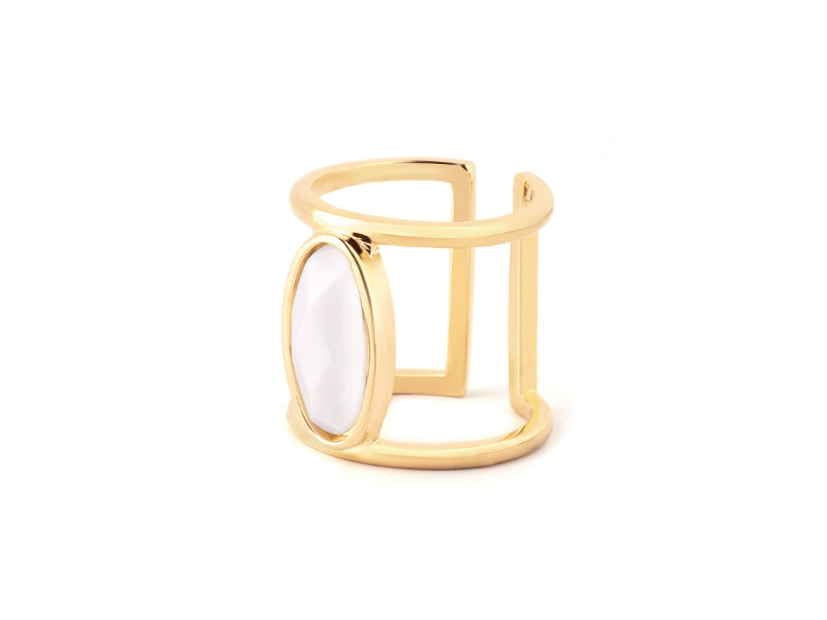 Oval White Quartz 14K Gold Ring