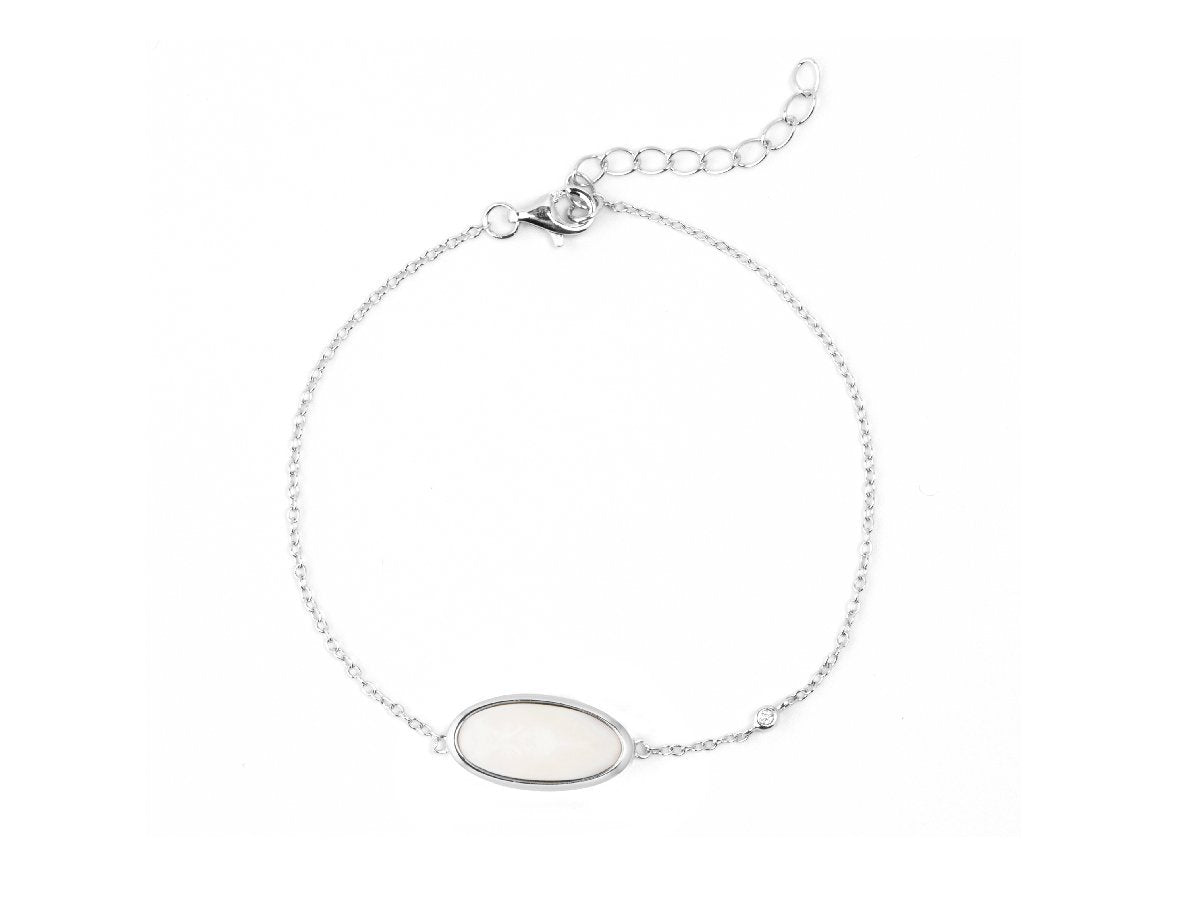 Oval White Quartz Bracelet
