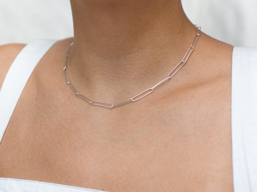 Paperclip Chain Sterling Silver Necklace