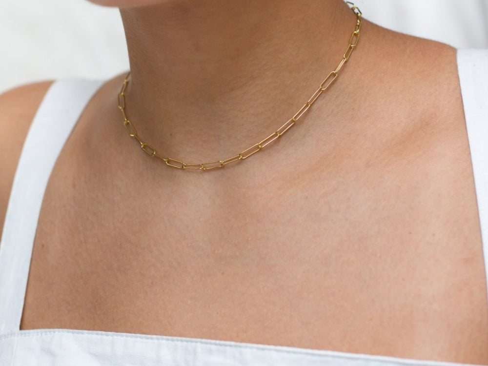 Paperclip Choker Necklace in 14K Gold