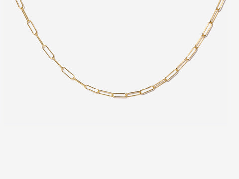 Small Oval Link Choker Necklace in 14K Gold