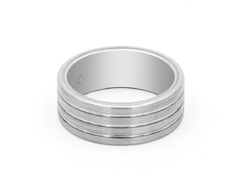 Parallel Engraved Tungsten Carbide Band Ring