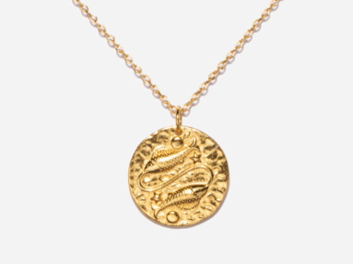 Gold Pisces necklace Zodiac sign pisces choker 14k gold filled chain Star sign jewelry Birthday gift Pisces charm necklace gz1