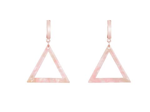 Triangle Pink Quartz Sterling Silver Ring