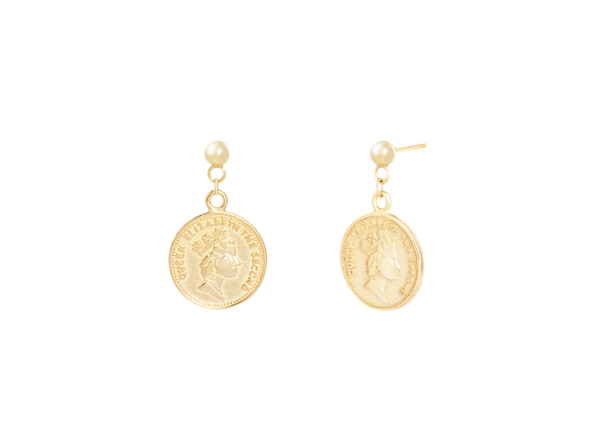 Queen Elizabeth II Coin 14K Gold Earrings