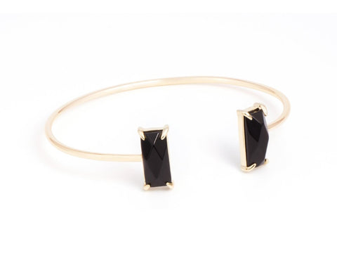 Contrast Black Onyx and Pink Quartz Cuff Bracelet